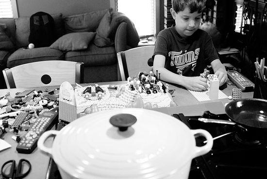 Presenting Lego, Boy, Le Crueset still life