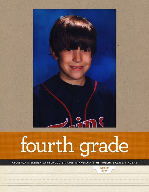 Fourth Grade Scrapped (As in scrapbooked. He didn't just up and ditch midyear.)