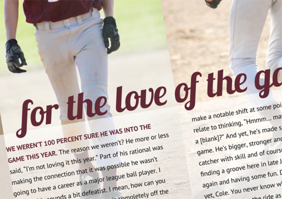 Digital Scrapbook Page: For the Love of the Game