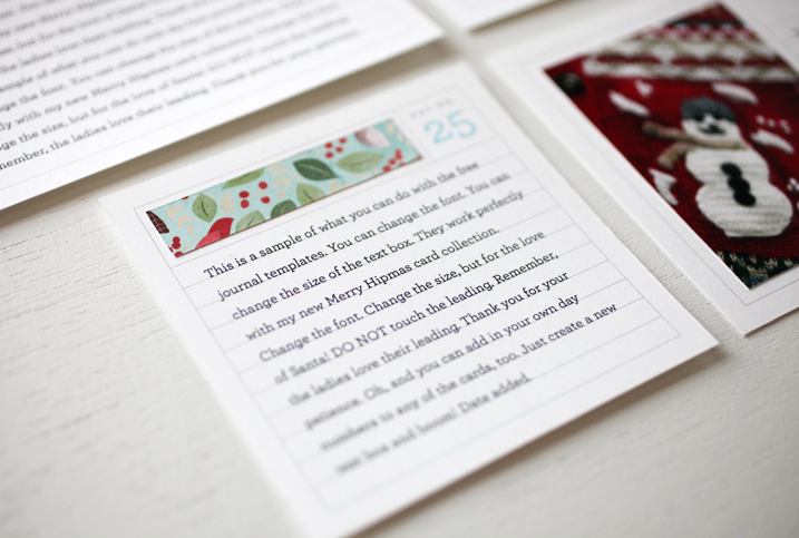 A free journal card template package for your upcoming holiday projects