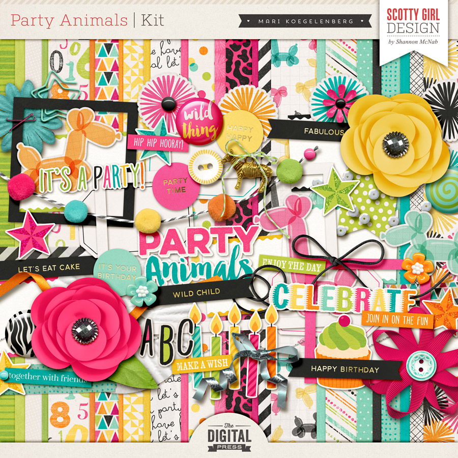 Sponsor Giveaway: Party Animals Kit from Scotty Girl Design