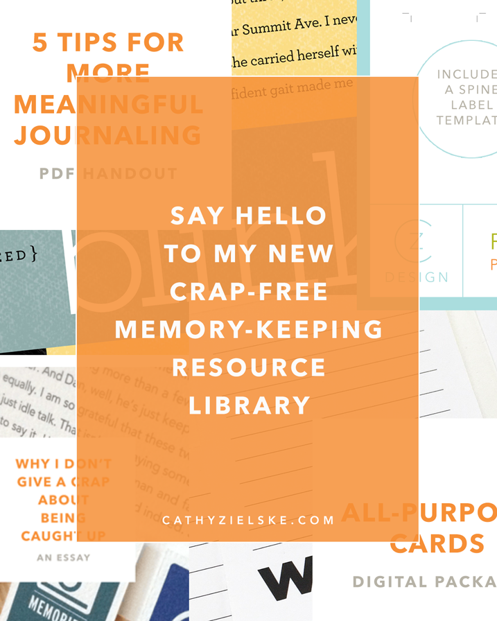 Subscribe to my newsletter for instant access to my Crap-Free Scrapbooking Resource Library.