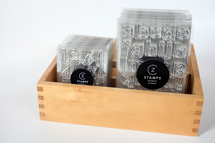 The Everett Alphas and Numbers are back in stock. Check out these classic sans serif outline stamps today.