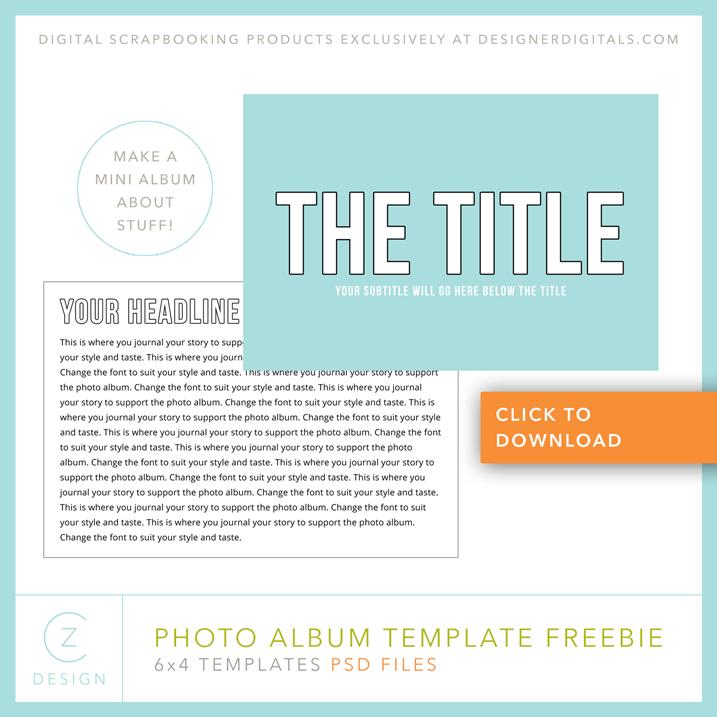 Download my free 6 x 4 Simple Album Template CZ Design