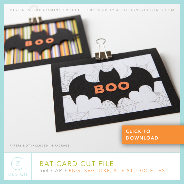 Download the free cut file to make this not so scary but charming bat card. Click through to download the cut file.