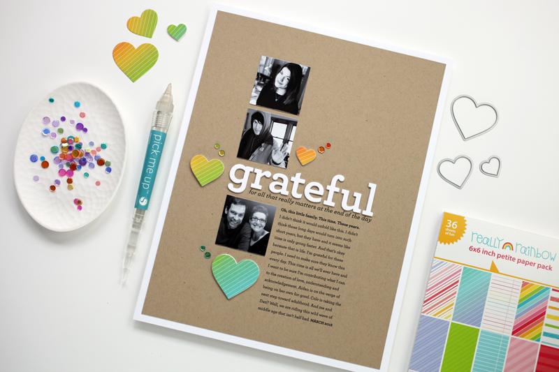 Pixel to Page: Grateful (hybrid process scrapbooking video)