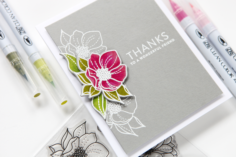 Thank You Card featuring Zig Clean Color Real Brush Markers at cathyzielske.com