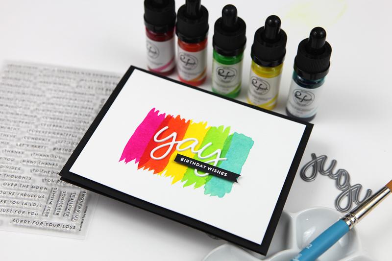 Simple Liquid Watercolor + Die Cut Birthday Card