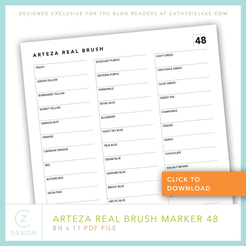 picture relating to Printable Color Chart titled Absolutely free Arteza Accurate Brush Markers Swatch Chart + a straightforward card
