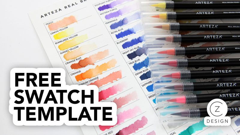 Free Arteza Real Brush Markers Swatch Chart + a simple card project