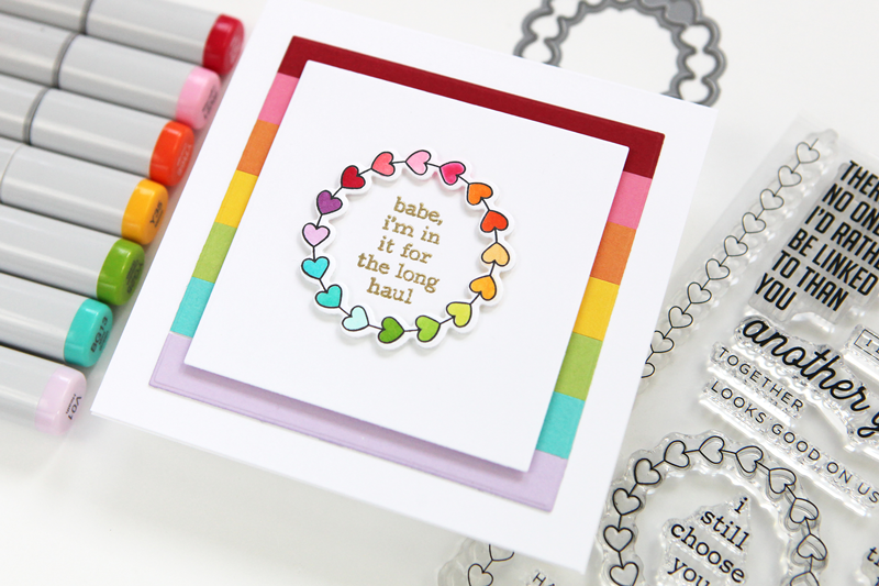 Rainbow Wreath Anniversary Card + fun stamps for your envelopes!