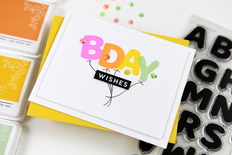 Pumped Up Alphabet Birthday Card