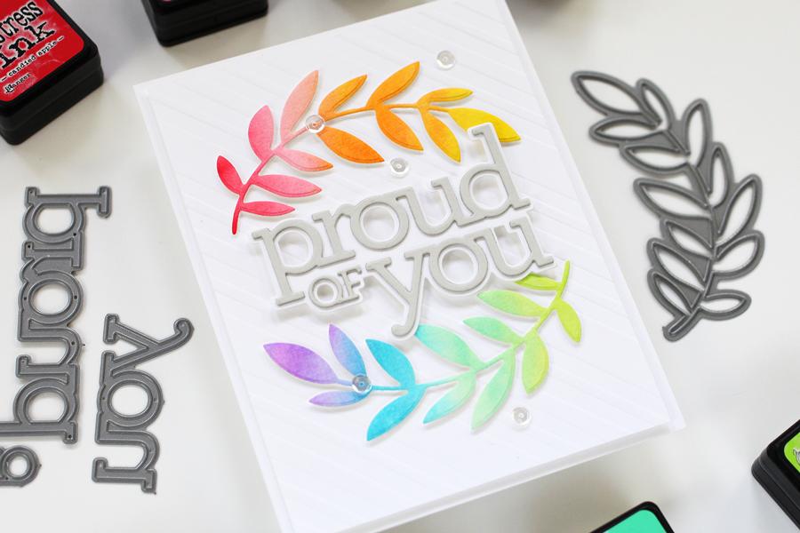 Distress Ink Rainbow Laurels Card Project