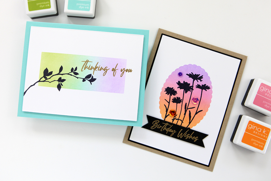 More masking, ink blending and silhouette stamping featuring products from Gina K. Designs