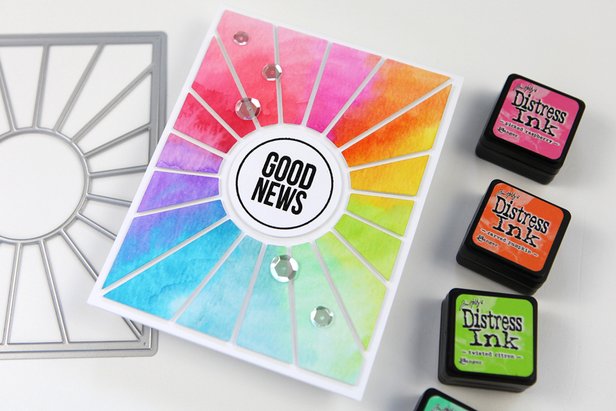 Create a pop out die cut sunburst with a rainbow of color!