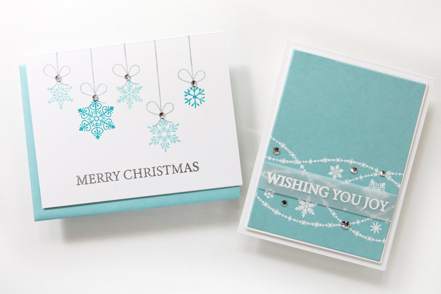 Two cool wintry cards featuring the Gina K. Designs STAMPtember® Exclusive!