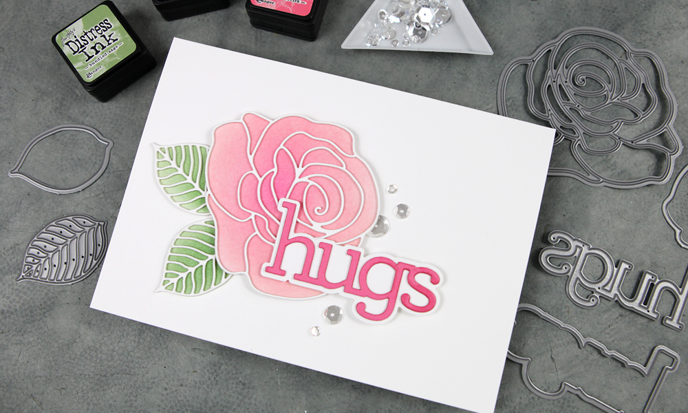 Detailed Rose Big Die + Hugs greeting. A Diecember® Blog Hop Card!
