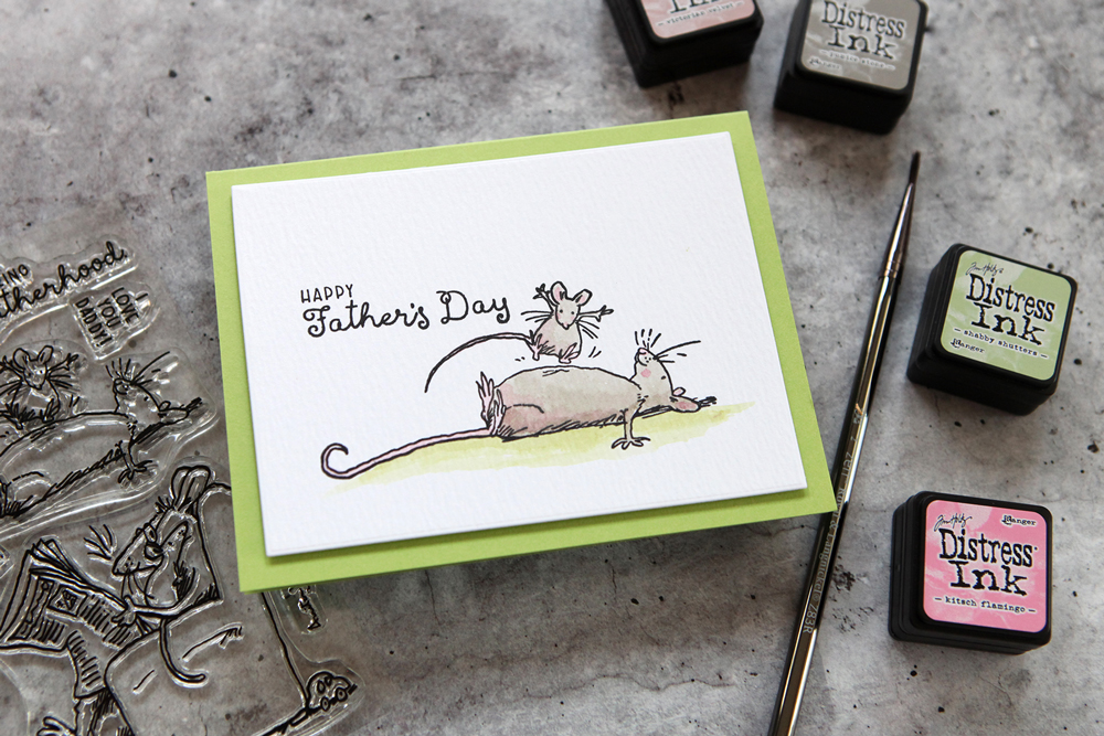 A fun Father's Day card featuring the latest stamps from Anita Jeram and Colorado Craft Co.