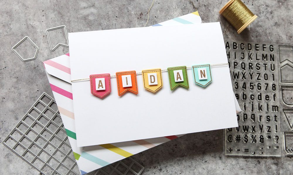 A fun customizable alpha die and banner set from Waffle Flower Craft!