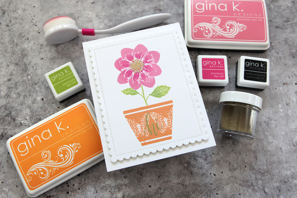 Simple stamping and masking with mix and match flowers and pots