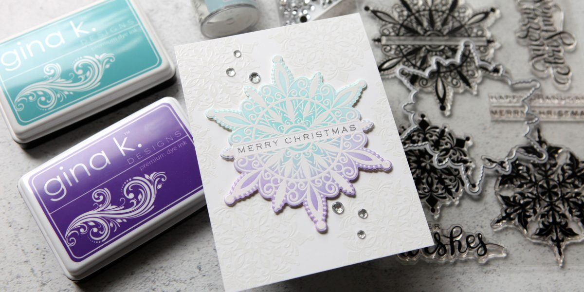 Gorgeous shimmering snowflakes for STAMPtember® from Gina K. Designs
