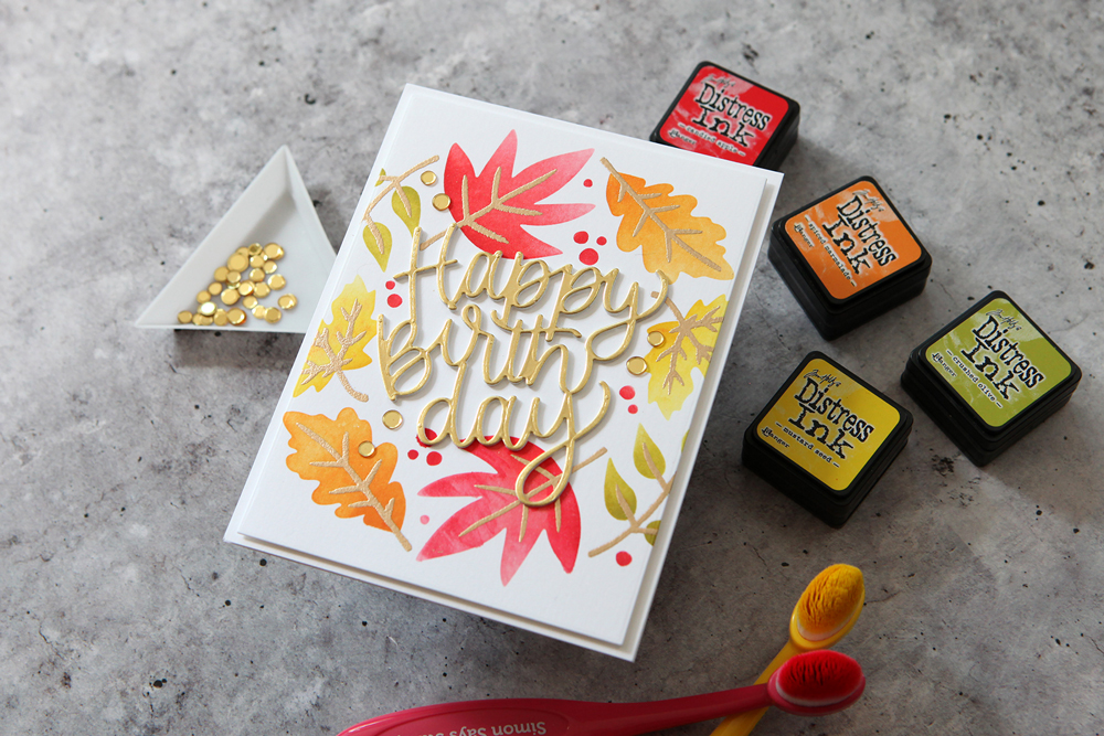 More stencil fun! Check out this gorgeous fall-themed birthday card.